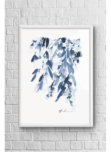 Lyn Home & Decor Mavi Sarkıt Çerçeveli Poster Tablo 23.5X33,5 Beyaz